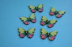 Wooden Butterfly Buttons Pink Green Blue 6pk 28x20mm (B7) £3.00
