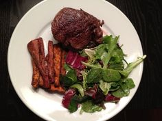 Sous Vide Steaks with Sweet Potato Fries and Salad #paleo