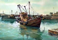 Dessin et peinture - vidéo 1963 : Le bateau de pêche à l'amarrage - le jeu des reflets dans l'eau à l'aquarelle.
