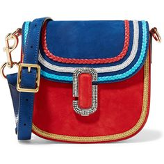 Marc Jacobs Leather-trimmed embellished suede shoulder bag ($2,240) ❤ liked on Polyvore featuring bags, handbags, shoulder bags, red, suede shoulder bag, embellished purses, woven handbags, marc jacobs purse and suede handbags
