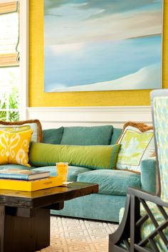 Yellow, blue, and blue-green -- vibrant and lively combination.