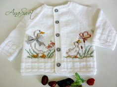 White cardigan with Ducklings.PDF Pattern.PC013
