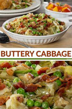 1/4 lb Bacon. 1 Head cabbage. 1/2 cup Onion. 1/2 cup Peas, frozen. 1/4 tsp Black pepper. 1 tsp Salt. 1/4 cup Butter.