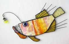 Anglerfish Stained Glass  Suncatcher