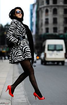 Zebra jacket/ red shoes