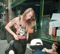 Jerry Cantrell & Layne Staley... circa 1990 in front of the Central, Seattle,WA