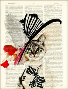Vintage book art - a cat in a hat! What do you think about that?