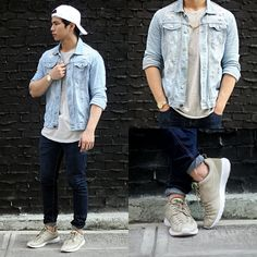 Get this look: http://lb.nu/look/7962656  More looks by Nick Ronquillo: http://lb.nu/nickronquillo  Items in this look:  Nike Sneakers   #edgy #grunge #street #blogger #denim #jacket #menswear