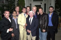 C. Carwood Lipton (center) with Band of Brothers cast members L-R: Frank John Hughes (Bill Guarnere); James Madio (Frank Perconte); Michael Cudlitz (Denver Randleman); Matthew Settle (Ronald Spiers); Richard Speight Jr. (Warren Muck); Neil McDonough (Lynn Compton); Donnie Wahlberg (C. Carwood Lipton) and Ron Livingston (Lewis Nixon)