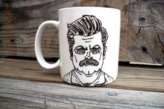 SALE Ron Swanson Manly Man Tribute Coffee Mug / Manly Parks and Recs Hand Painted Coffee MMMug. $15.00, via Etsy.