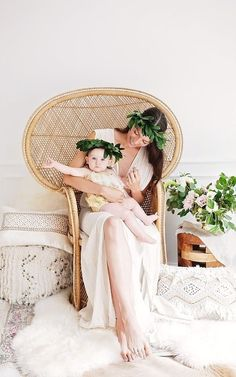 Floral mommy and me portrait Creative Photography Poses, Photography Mini Sessions, Mommy And Me Photo Shoot, Mom Daughter, Mother Daughters, White Backdrop, Organic Baby Clothes, Baby Girl Dresses, Mom And Baby