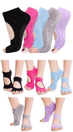 Nachvorn Yoga Socks Non Slip Skid Cotton Socks with Grips for Yoga Pilates Barre Bikram, Unisex for Men and Women,170502A-5Pack-BGLPR