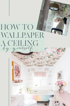 How to Paper a Ceiling by Yourself. Wallpapaer on ceilings is a new trend in homes. How to hang wallpaper on the ceiling on your own. Step by step instructions for how to apply the wallpaper with the install tricks. I also have tips if the wallpaper won't stick to ceiling