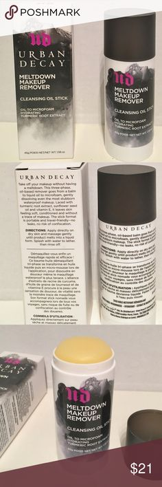 Urban Decay Meltdown Makeup Remover Oil Stick NIB You will get a New Urban Decay UD Meltdown Makeup Remover Cleansing Oil Stick Full Size New In Box 1.58 oz as you see in the pictures. Urban Decay Makeup