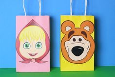 DIY Masha and the Bear Party Favor Bags.  Simply Download, Print, Cut and Paste. Print as many copies as you need.