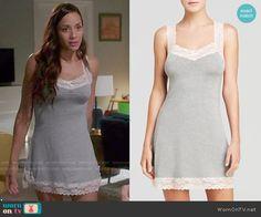 Rosie's grey lace trim chemise on Devious Maids. Outfit Details: http://wornontv.net/50132/ #DeviousMaids