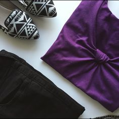 The Limited Purple Knot Tee Pretty Color! Piling Across Shirt (see first pic). 95% Polyester/5% Spandex. No Trades. The Limited Tops