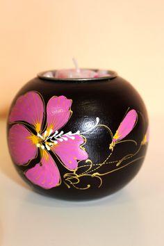 Ručně malovaný svícen s jednou svíčkou, dřevo, ruční práce
