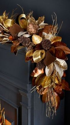 Shop Chocolate, Copper, & Gold Garland at Horchow, where you'll find new lower shipping on hundreds of home furnishings and gifts. Christmas Swags, Woodland Christmas, Christmas Mantels, Noel Christmas, Christmas 2017, Holiday Wreaths, Rustic Christmas, Christmas Crafts, Holiday Decor