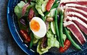 salad nicoise: we have a lot of tuna steaks in the freezer!