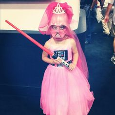 This is the most brilliant costume I've ever seen for a kid. Or anyone.    Bonus: Princess Vader knows the power of the pink side.