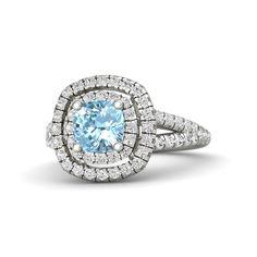 Cushion Aquamarine 18K White Gold Ring with White Sapphire   Lillian Ring (6mm gem)   Gemvara I WANT THIS TO BE MY RING!!!!!