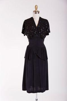 1940s Vintage Dress Black Widow Black Rayon by stutterinmama