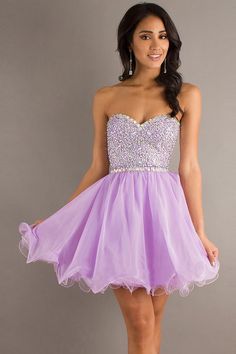2014 #Homecoming #Dresses A Line Short/Mini Sweetheart #Chiffon With Beads Color Lilac