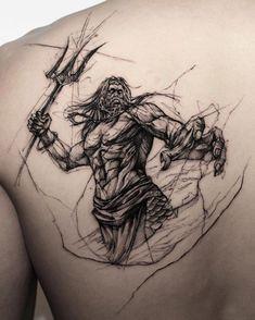 Poseidon Tattoo, God Tattoos, Tattoos For Guys, Best Tattoos For Men, Tatoos Men, Tatto For Men, Bear Tattoos, Friend Tattoos, Zues Tattoo