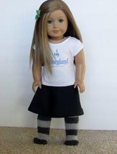 American Girl Doll Black Skirt with Pattern Link