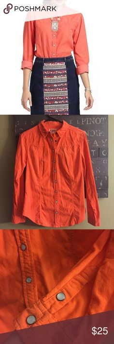 Anthropologie Holding Horses fine Cord Top! Anthropologie Holding Horses fine whale cord Shirt! Coral color with pearl snap buttons! Great condition! Soft fine corduroy material! Great for layering or wearing with jeans! Size 0. Could easily fit XS/S! Anthropologie Tops Button Down Shirts