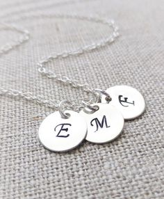 Personalized Jewelry Three Initials Sterling Silver Necklace -You Choose Initials- by JBMDesigns on Etsy $30.00 **Click picture to see details**