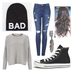 """""""Untitled #1578"""" by beau-4-ever ❤ liked on Polyvore featuring Topshop, Kin by John Lewis, Converse and Vanessa Mooney"""