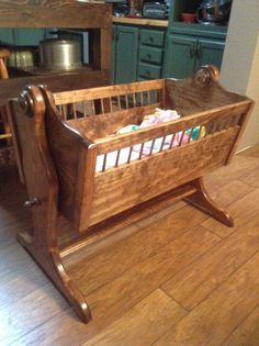 Cradle I made for little Willow. Cradle I made for little Willow. Baby Cradle Plans, Baby Cradle Wooden, Woodworking Projects For Kids, Woodworking Furniture, Wood Projects, Woodworking Joints, Baby Crib Diy, Baby Cribs, Wood Bassinet