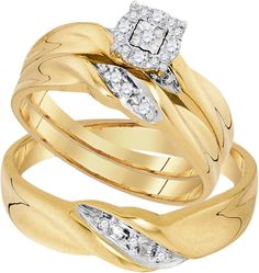 Yellow Gold Women's Bridal Set + Men's Band Round Diamonds Trio His and Her Rings Set (0.13ct. tw)- 40493888
