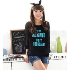 3/4-Sleeve Lettering Sheer Pullover from #YesStyle <3 59 Seconds YesStyle.com