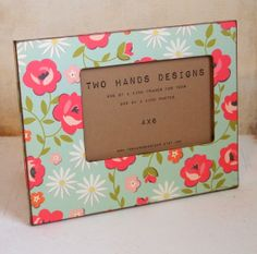 4x6 Fabulous Flowers Wood Picture Frame by TwoHandsDesigns on Etsy, $24.00