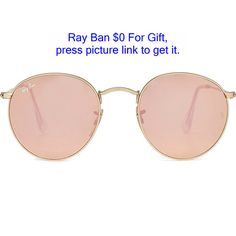Ray-Ban RB3447 Round Metal Flash Sunglasses ($145) ❤ liked on Polyvore featuring accessories, eyewear, sunglasses, glasses, gold, round sunglasses, mirror lens sunglasses, pink mirrored sunglasses, retro sunglasses and ray ban glasses
