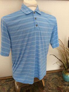 Men S Polo Golf Shirt Pebble Beach Performance Moisture Wicking L Light Blue