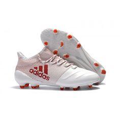 4a1a1d2792f19 2017 Adidas X 17.1 Cuero Botas de futbol Blanco rojo Zapatos De Fútbol
