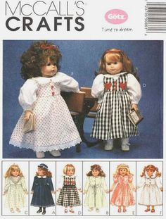 3be80d56fd82 AMERICAN DOLL Clothes Sewing Pattern - GOTZ Dress Coat Hat Bathrobe  Slippers Nightgown.  8.95