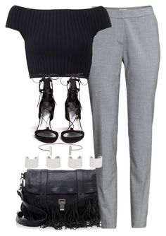 """Untitled #3408"" by plainly-marie ❤ liked on Polyvore featuring Proenza Schouler, H&M, Michael Kors, Stuart Weitzman, Humble Chic and Maison Margiela"