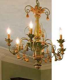 Italian carved wood chandelier with tassels motif in antiqued pale green and gold leaf finish