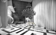 Philippe Starck designed condo in Dubai Design Entrée, Lobby Design, Floor Design, Philippe Starck, Ambiance Hotel, Hotel Interiors, Contemporary Interior Design, Restaurant Design, Decoration