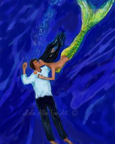 Couple Mermaid Mermaids Couple Romantic Love by LeslieAllenFineArt