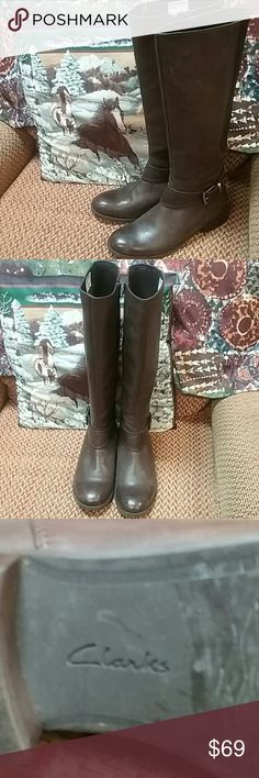 Awesome Chocolate Leather Riding Boots by Clarks Chocolate Riding Boots w/Woven Leather Back.  Full zipper and right Buckle.  Rubber soles Clarks Shoes Heeled Boots