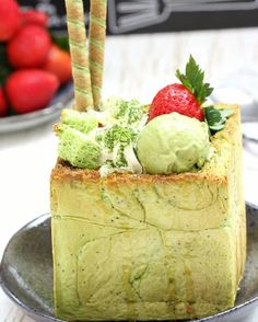 Homemade matcha honey brick toast