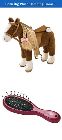 """Gotz Big Plush Combing Horse to Brush and Style for 18"""" and 19.5"""" Dolls. Horse crazy little girls are going to love this horse. She is so big! With her ears pricked up she is a little over 20"""" tall and makes a great compliment to any 18"""" doll. She has a long mane and tail to brush and style and she even arrives with a wire hairbrush for this purpose. She has a wire frame within her body making her very sturdy for the dolls to sit on. Her saddle has adjustable stirrups too. Gotz Hannah and..."""