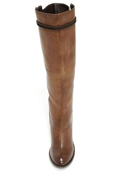 68d129818be Steve Madden Rikter Cognac Leather Knee High Heel Boots