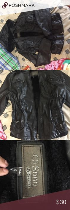 Leather Jacket M has minor wear but in good condition. fur interior. the hood is detachable. ruffled/scrunched sides. it's too big for me so selling it; i wear size small. Jackets & Coats